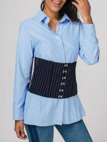 Chemise à Manches Longues En Corset Contrasté - Bleu 2xl