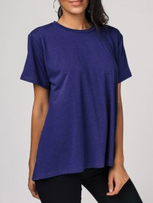 High Low Color Block Tee - Blue 2xl