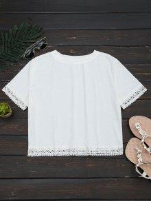 Crochet Hollow Out Crop Tee - White Xl