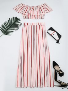 Separate Striped Top And Slit Skirt Suit - Red Stripes M