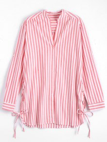 Side Lace Up Longline Striped Shirt - Stripe S