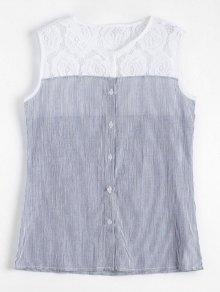 Camisa A Rayas Sin Mangas De Panel De Encaje - Raya L