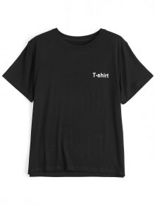 Letter Pattern Short Sleeve T-shirt - Black S