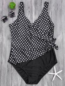 Draped Dotted Plus Size One Piece Swimsuit - White And Black 4xl