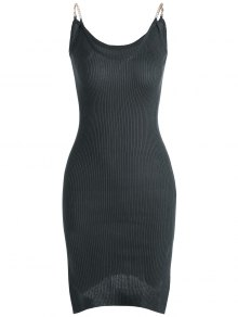 Side Slit Ribbed Cami Knitted Dress - Deep Gray