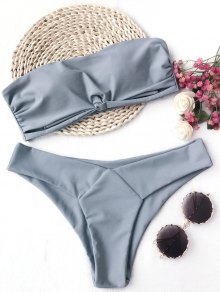 Knot Padded Bandeau Bikini Set - Gray S