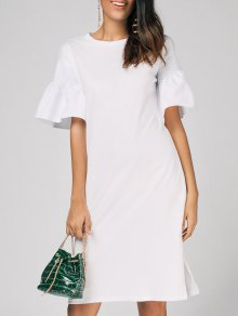 Flare Sleeve Side Slit Shift Dress - White L