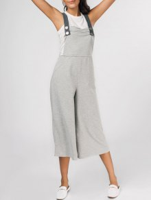 Square Collar Sleeveless Wide Leg Jumpsuit - Gray 2xl