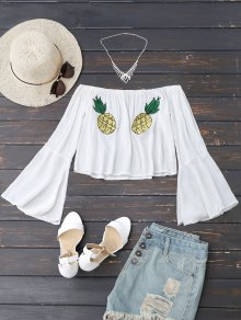 Off Shoulder Pineapple Embroidered Top - White S
