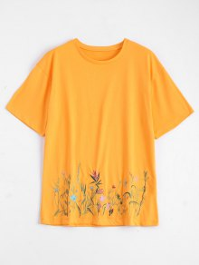 Crew Neck Floral Embroidered Tee - Yellow L