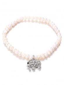 Faux Pearl Rhinestone Inlay Elephant Pendant Bracelet - Silver