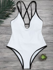 Contrast Piping Strappy High Cut Swimsuit - White S