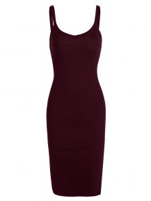 Side Slit Knitted Cami Sheath Dress - Wine Red