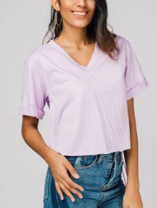 V Neck Fringed Tee - Light Purple S