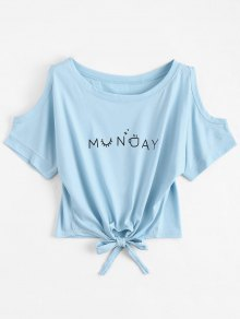 Letter Bowknot Cold Shoulder Top - Light Blue