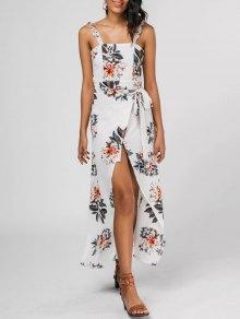 Ruffled Strap Floral Print Slit Dress - Floral M