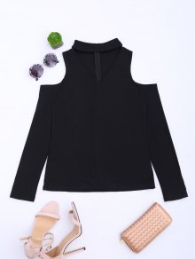 Cold Shoulder Cut Out Ribbed Knitted Tee - Black S