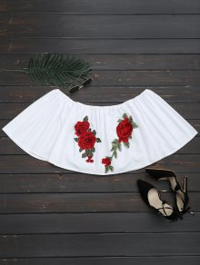 Floral Patched Off The Shoulder Crop Blouse - White L