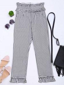 Ruffle Hem Checked Capri Pants - Checked Xl