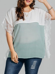 Plus Size Stripe Lace Panel Dolman Sleeve Chiffon Top - Light Green 3xl