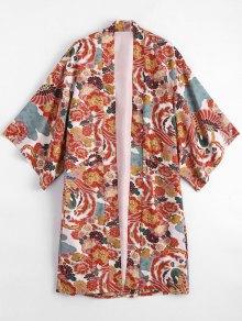 Blusa De Kimono Floral Abierto - Floral S
