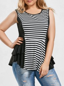 Striped Plus Size Tiered Peplum Top - White And Black 3xl