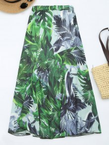 Leaves Print High Waist Maxi Skirt - Green Xl