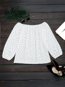 Off The Shoulder Polka Dot Swing Blouse - White Xl