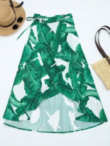 Leaves Print High Waist Wrap Skirt - Deep Green L