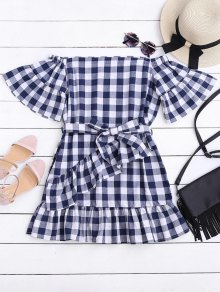 Checked Belted Off Shoulder Mini Dress - Checked S