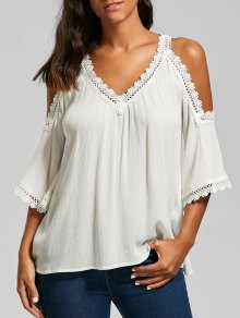 Laced V Neck Cold Shoulder Top - White M