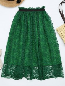 Ruffle Hem Lace Flare Skirt - Deep Green