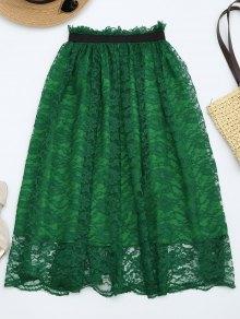 Ruffle Hem Lace Flare Skirt - Deep Green