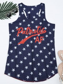 Star Letter Print U Neck Tank Top - Purplish Blue S