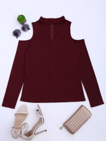 Cold Shoulder Cut Out Ribbed Knitted Tee - Deep Red L
