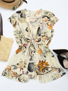 Floral Leaves Print Plunging Neck Romper - Multi L