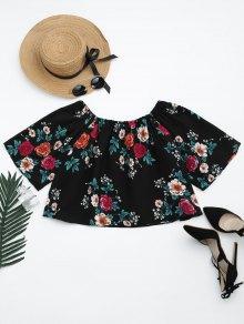 Off The Shoulder Floral Print Crop Blouse - Floral M
