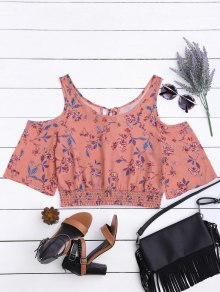 Floral Smocked Cold Shoulder Top - Pink S