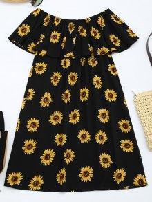 Sunflower Print Flounce Shift Dress - Floral L