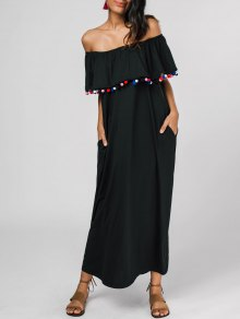 Off The Shoulder Flounce Embellished Dress - Black S