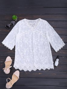 V Neck Openwork Scalloped Blouse - White L