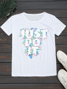 Round Collar Floral Letter Print Tee - White Xl