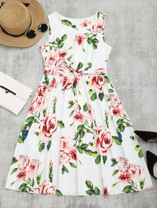 Round Collar Floral Print Belted Dress - Floral S