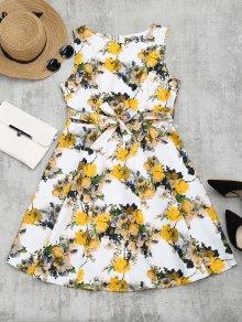 Vestido De Flare De Lazo Del Estampado De Flores - Floral Xl