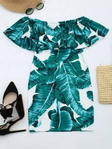 Leaves Print Flounce Fitted Dress - Deep Green S