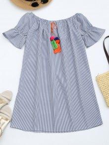 Flare Sleeve Striped Dress With Tassels - Stripe Xl