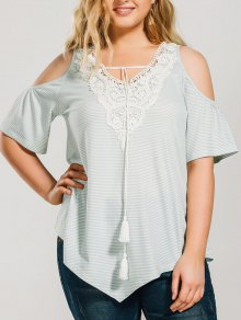 Striped Cold Shoulde Plus Size Peasant Blouse - Light Green 2xl
