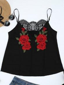 Lace Panel Floral Patched Cami Top - Black L