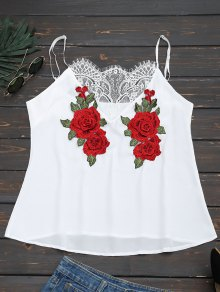 Lace Panel Floral Patched Cami Top - White L