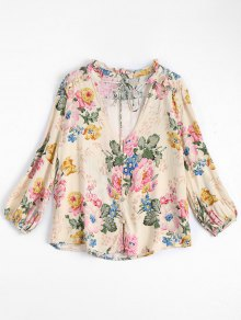 Floral V Neck Tied Ruffled Shirt - Floral S